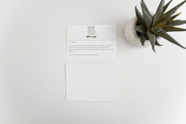 flat greeting card with envelope